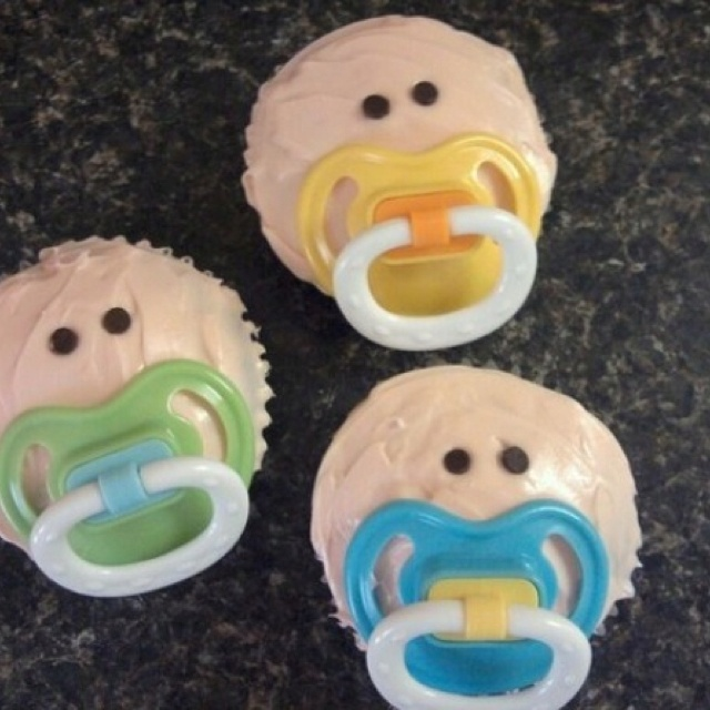 Baby face cupcake: Showers, Baby Shower Cupcakes, Baby Shower Ideas, So Cute, Pacifier Cupcakes, Cupcake Ideas, Parties Ideas, Baby Cupcake, Baby Shower