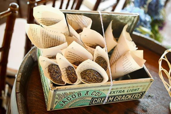 toss herbs or just lavender - wrapped in love letters or love poem pages
