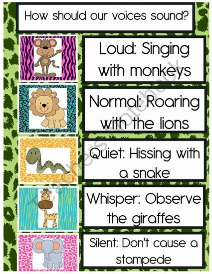 Jungle theme voice level chart from Crazy in Pre K on TeachersNotebook.com (2 pages)  - FREE Jungle theme voice level chart!