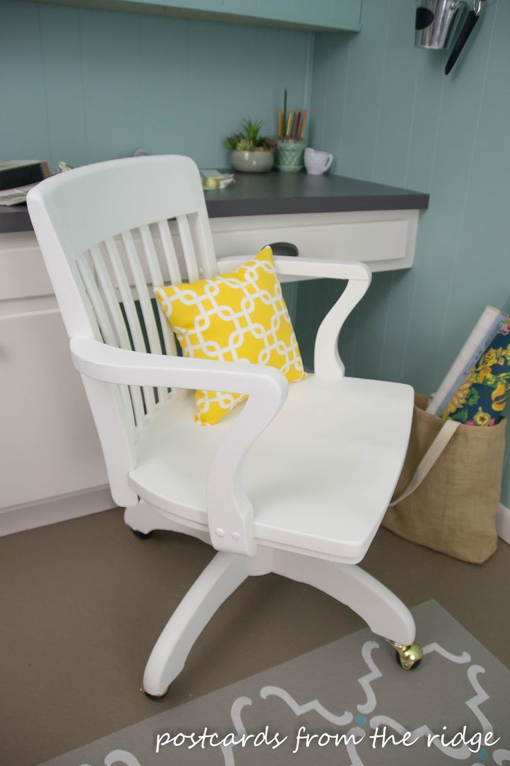 An Old Wooden Swivel Office Chair Gets A Facelift With A New Pillow, Fresh  White