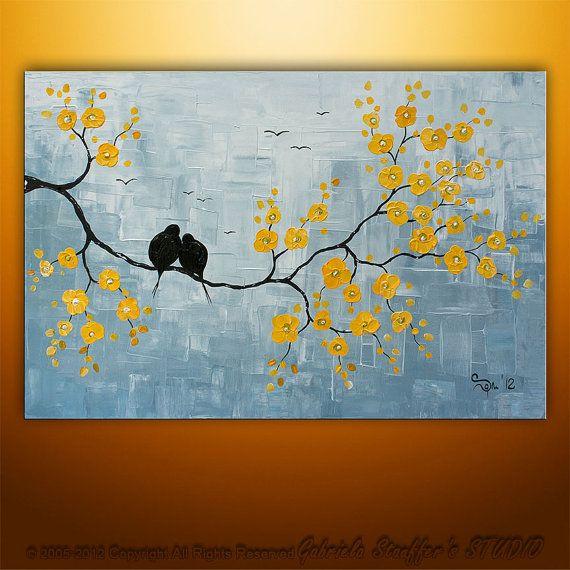 Paisaje abstracto árbol aves pintura texturado moderna por Catalin