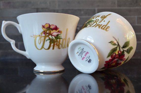 Vintage Teacups Bride and Mother of the by bostoninachinashop