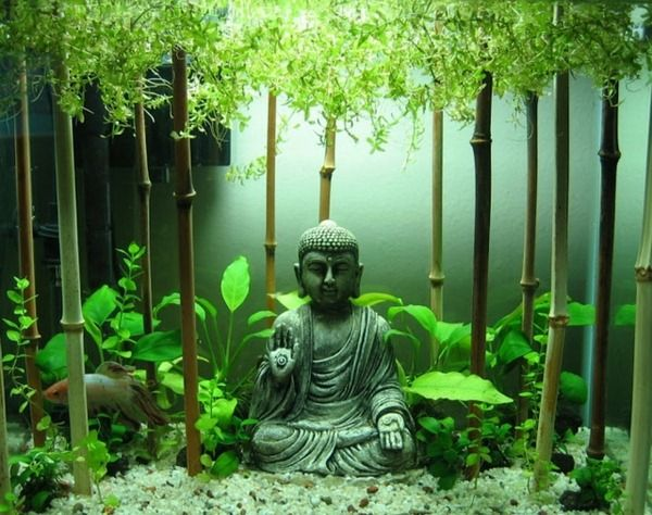 buddha bamboo sticks goldfish aquarium small original decoration fish aquarium pinterest. Black Bedroom Furniture Sets. Home Design Ideas