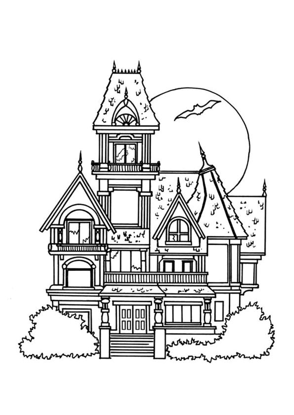 Dessin d un grand manoir hant colorier coloriages de for Image maison dessin