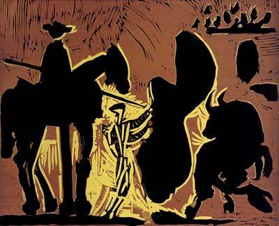 Пабло Пикассо. Коррида. Цветная линогравюра. 1959 год