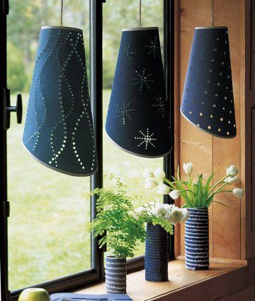 Old denim lampshades
