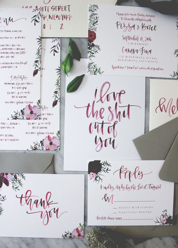 Moody Floral and Burgundy Suite Calligraphy InvitationsCalligraphy