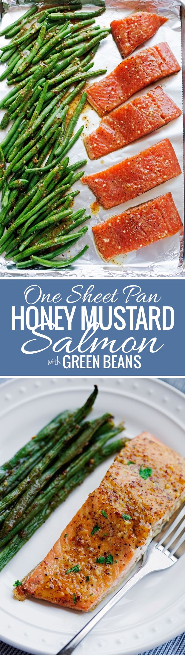 One Sheet Pan Honey Mustard Salmon with Green Beans - An easy weeknight dinner that's all baked in one pan! #roastedgreenbeans #roastedsalmon #honeymustard #honeymustardsalmon | Littlespicejar.com @littlespicejar