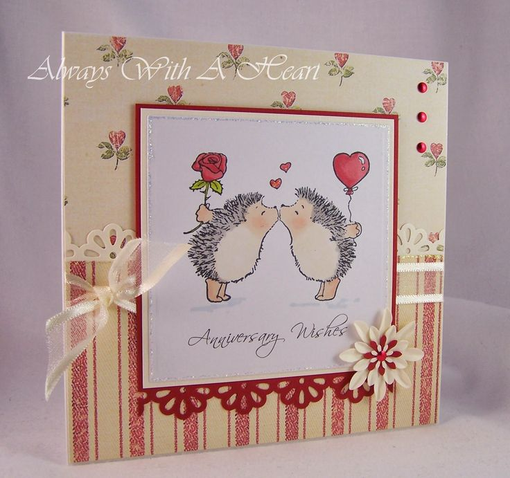 What a sweet anniversary card with Penny Black hedgehogs.