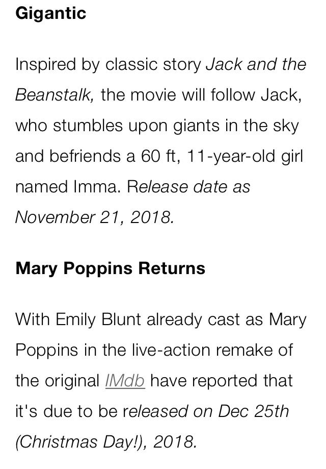 A new movie about Jack and the Beanstalk movie will be made and Mary Poppins returns