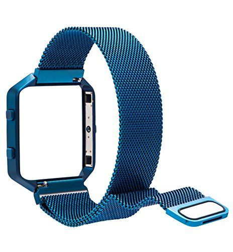 Fitbit Blaze Band Large (6.1-9.3 in) PUGO TOP Milanese Loop Stainless Steel Band with Metal Frame for Fitbit Blaze Smart Fitness Watch and Fitbit Blaze Special Edition Blue