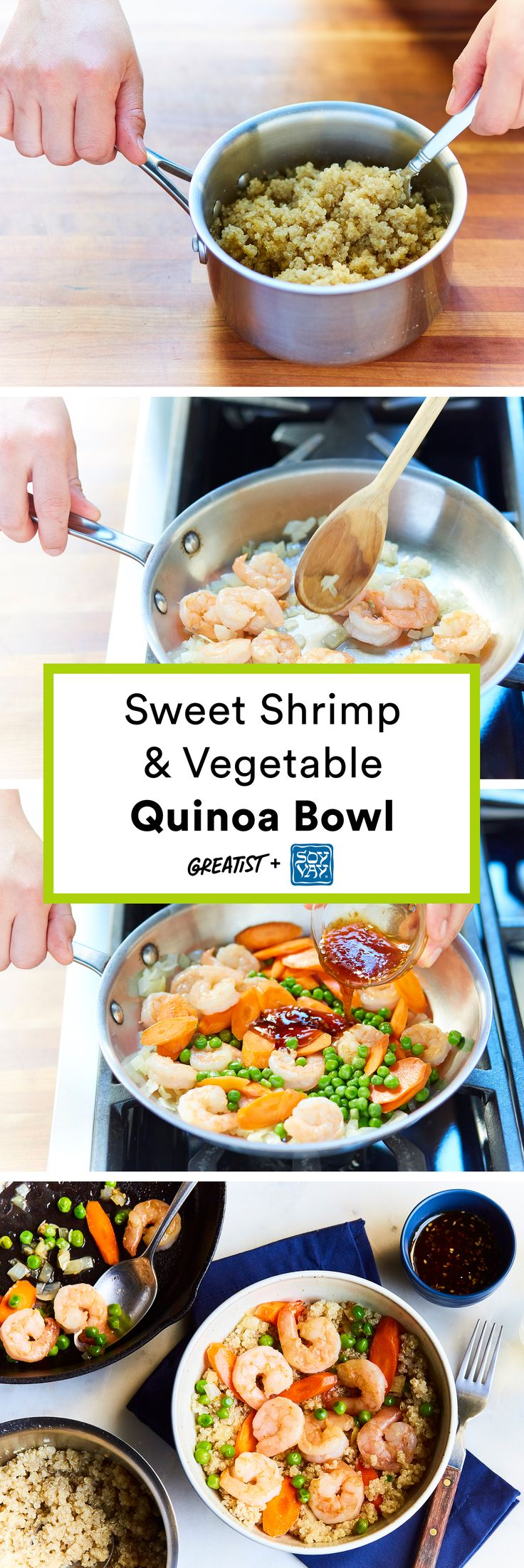 Sweet Shrimp & Vegetable Quinoa Bowl @soyvay #partner