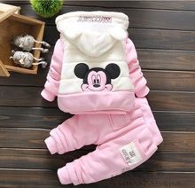 3 peças crianças menina infantil do bebê roupas de inverno menina ajuste roupas grossas casaco quente jaqueta de inverno para o bebé minnie rato(China (Mainland))