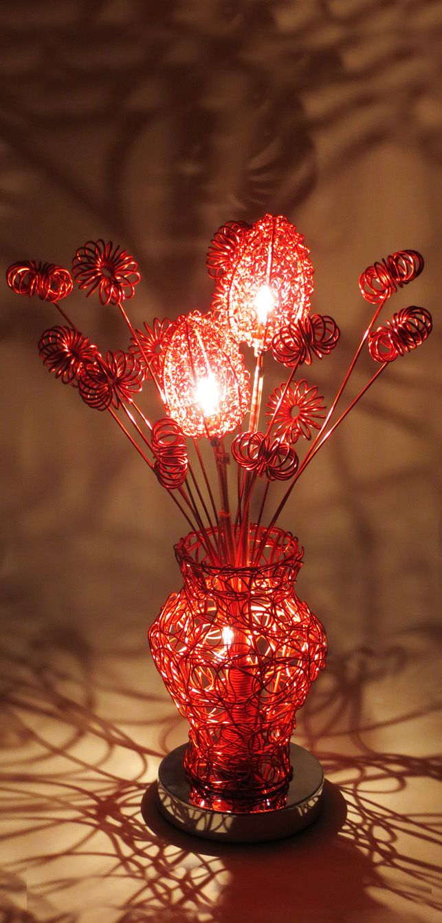 44 best wire table lamps images on pinterest wire table flower red table lamp wire table acorn stems spirals bulbs vase bouquet deko greentooth