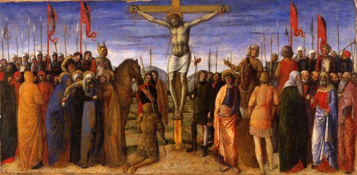 1450 Crocefissione Museo Correr. Insieme alle tavolette della Pinacoteca Nazionale di Ferrara e dei Musei Civici agli Eremitani, formava la predella di una pala eseguita da Jacopo e figli per la Cappella Gattamelata al santo.