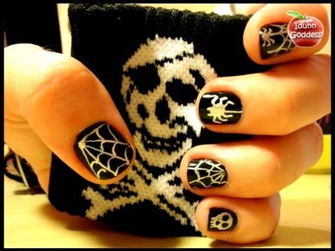 ▶ Halloween Gothic Style Nail Art With Gel Pens - Easy Homemade Nail Art Tutorial - Easy Manicure - YouTube