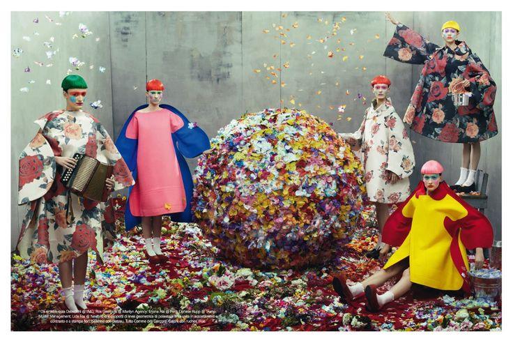 Commes des Garcons  | Vogue Italia | July 2012 | Editorial | Showcasing FW2012-13 | by Steven Meisel | Starring Vanessa Axente, Julia Nobis, Erjona Ala, Mackenzie Drazan, Lida Fox, Elena Bartels, Ros Georgiou, Hedvig Palm and Lula Österdahl | Styling by Karl Templer | Set Designs by Mary Howard #mafash14 #bocconi #sdabocconi #mooc #w4