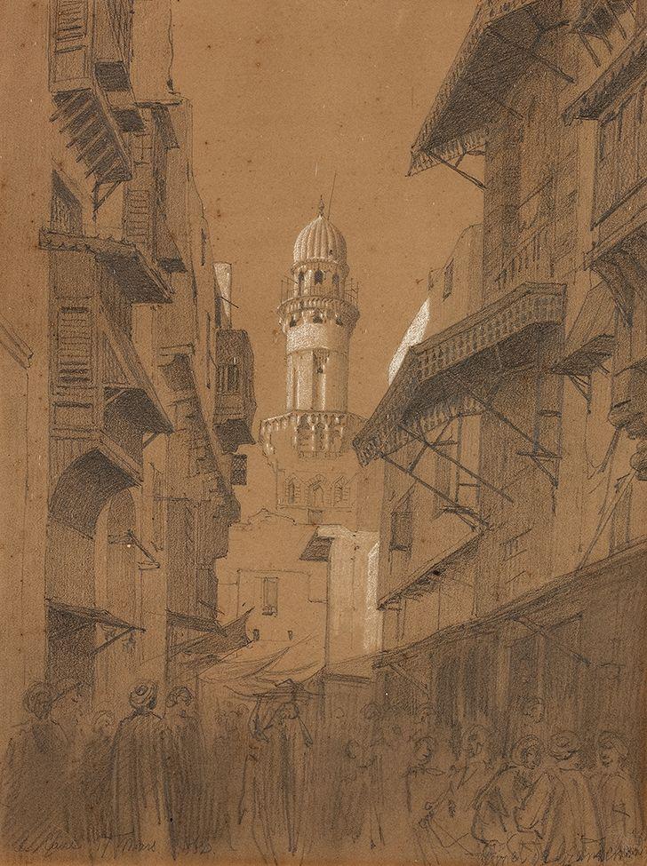 Lot : Louis Emile PINEL DE GRANDCHAMP  - Etude préparatoire pour Le Caîre , 17 mars 1864[...]   In the sale Tableaux Modernes (Drouot) at Aguttes