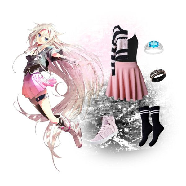 IA Casual Cosplay, Vocaloid by psychometorzi on Polyvore featuring Reiss, Retrò, Pieces, Supra, Oravo, Swarovski, women's clothing, women's fashion, women and female