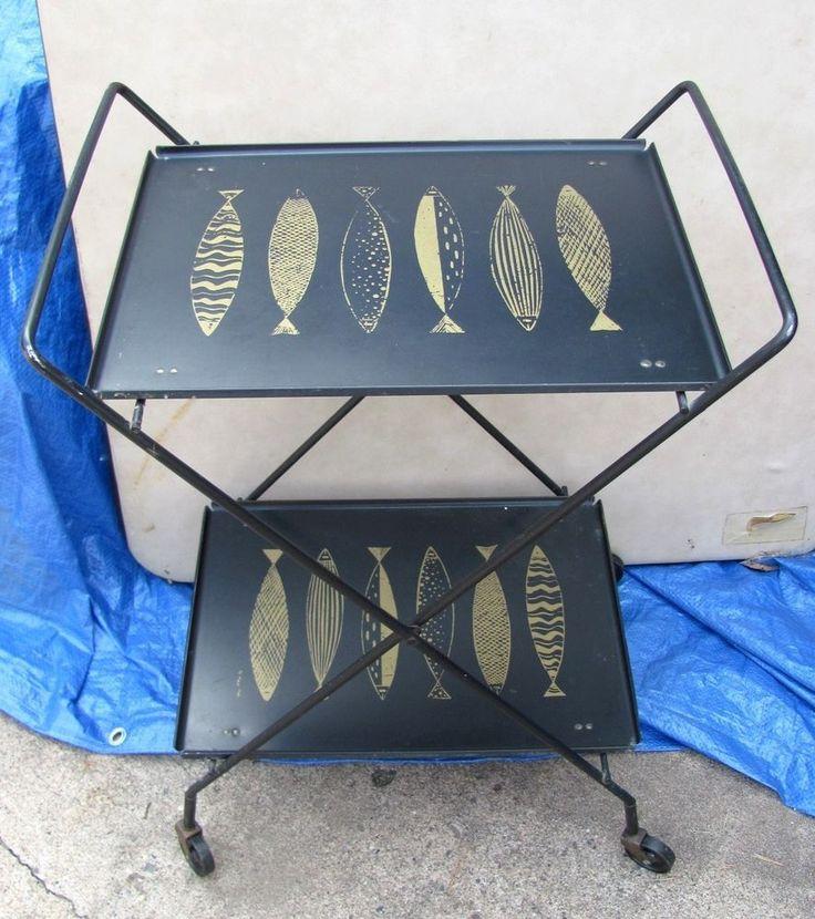 Vtg Retro Mid Century FRED PRESS Metal Folding Serving Cart Atomic Fish Wheels