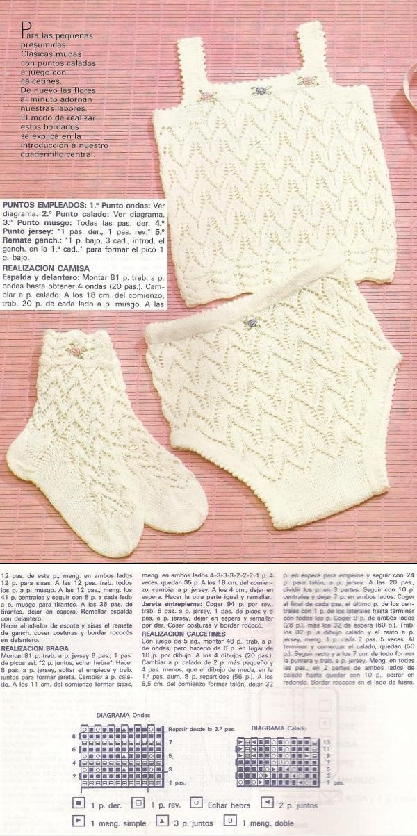 Lacy set of knitted cotton vest, knickers and socks with embroidered bullion roses (age/size, needle size not specified; my guess is cotton perle on 2,5mm for 3-6 months)  ~~ Muda de camisa y braga con calados y bordado de flores al minuto (rococós) con sus calcetines a juego