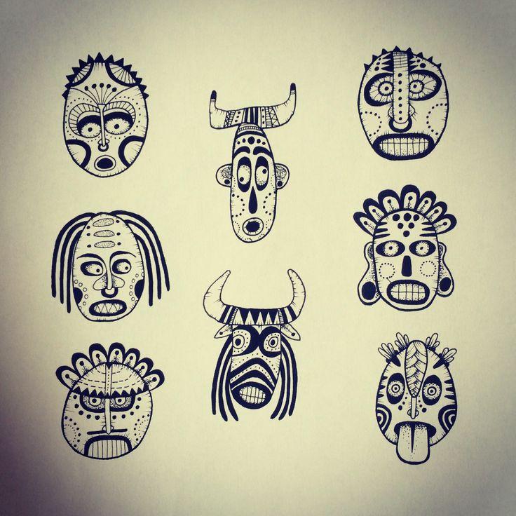 masque africain tatouage