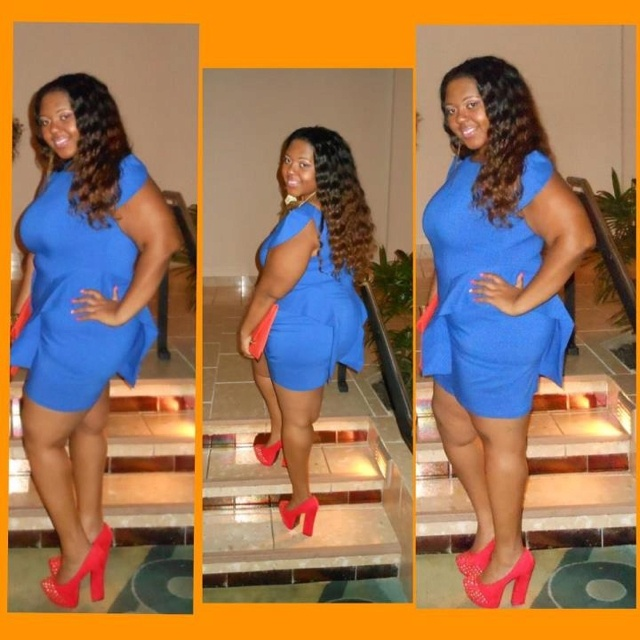 Royal Blue dress, red 6inch pumps and curly honey blonde ombré hair!!!! Geeeezzzz I love it I love it and I LIVE!!!! This reminds me why I love plus size women!! ❤