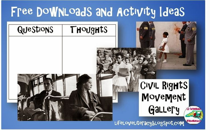Create a Civil Rights gallery--image/photograph activity to launch a unit on the Civil Rights (historical fiction, reading, social studies, nonfiction)