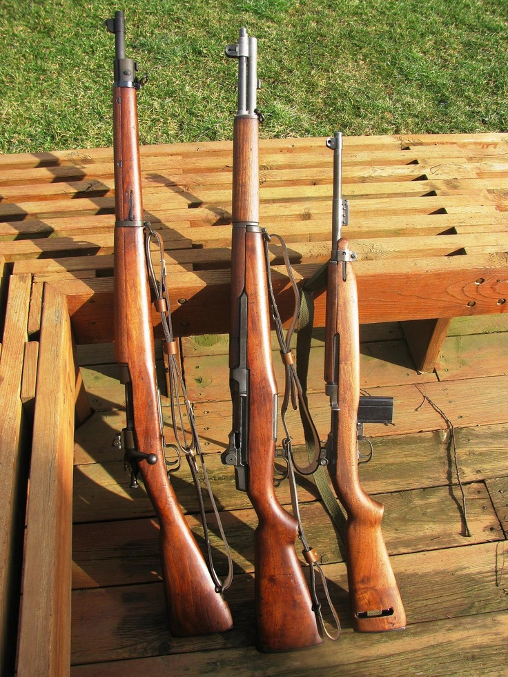 WWII battle rifles of the United States - (l to r) Remington 03A3, M1 Garand, M1 Carbine