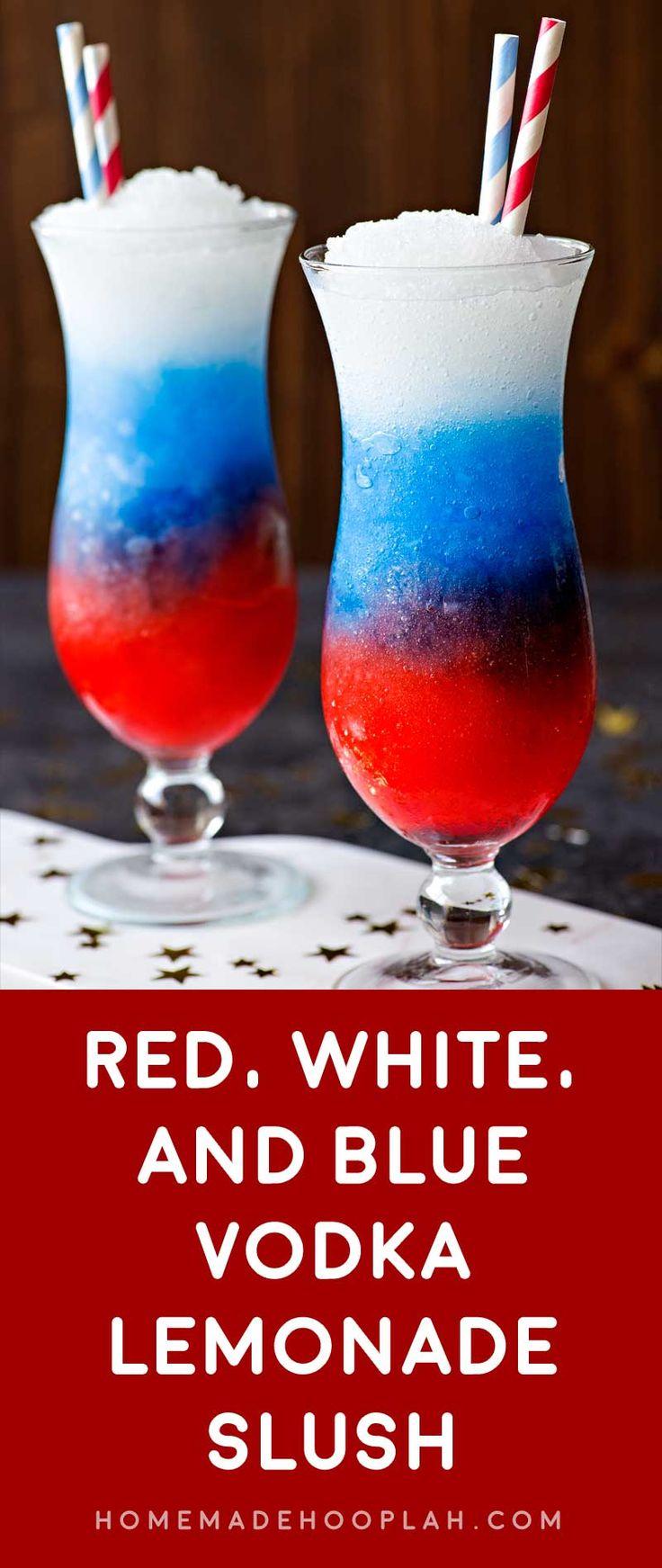 Red White and Blue Vodka Lemonade Slush