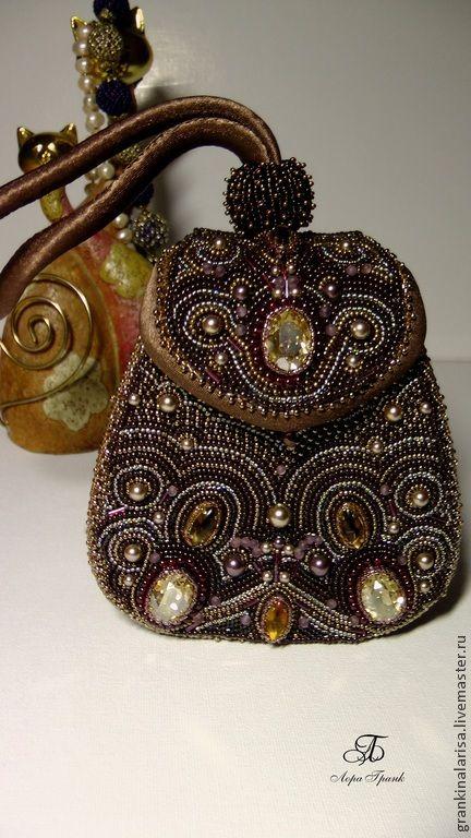 Купить Сумочка вышитая бисером - коричневый, сумка, сумка женская, сумка ручной работы