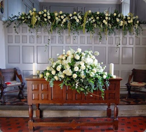 Wedding Altar Flowers Photo: Church Wedding Decorations - Altar Flowers Spray