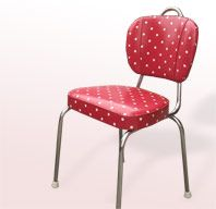 Retro Kitchen Chair covered in fabulous polkadot oilcloth....