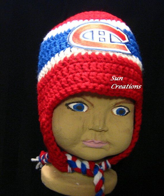 Montreal Canadiens Earflap Hat with Logo by suncreationsemporium. Explore more products on http://suncreationsemporium.etsy.com