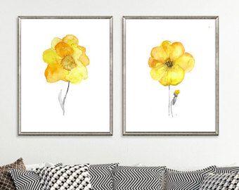 Items similar to Yellow Navy Blue Art, Yellow Blue Wall Art, Home Decor, Set of 4 - 8x10 Prints, Yellow Navy Bedroom Art, Kitchen Art, Yellow Wall Art on Etsy