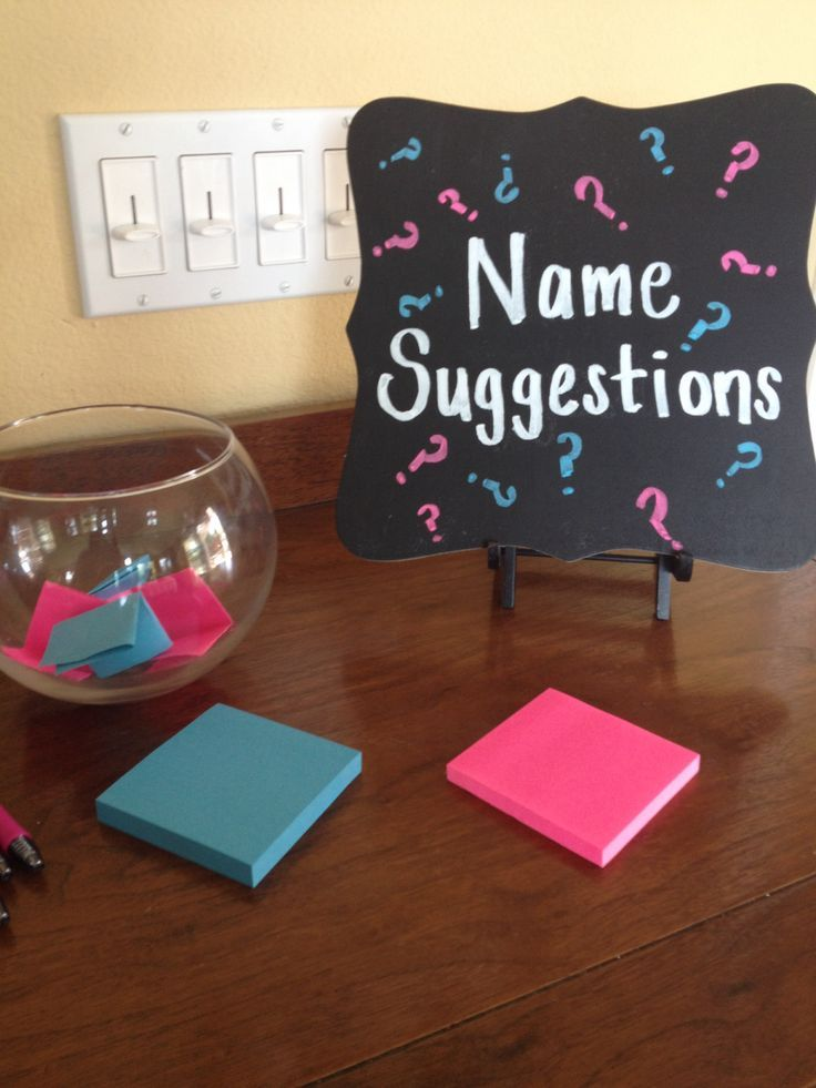 Gender reveal party. Name suggestions for a baby boy or girl!