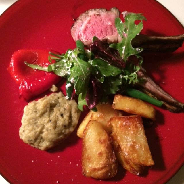 lamb cutlets with babaganoush, capsicums and crisp potatoes and beetroot salad