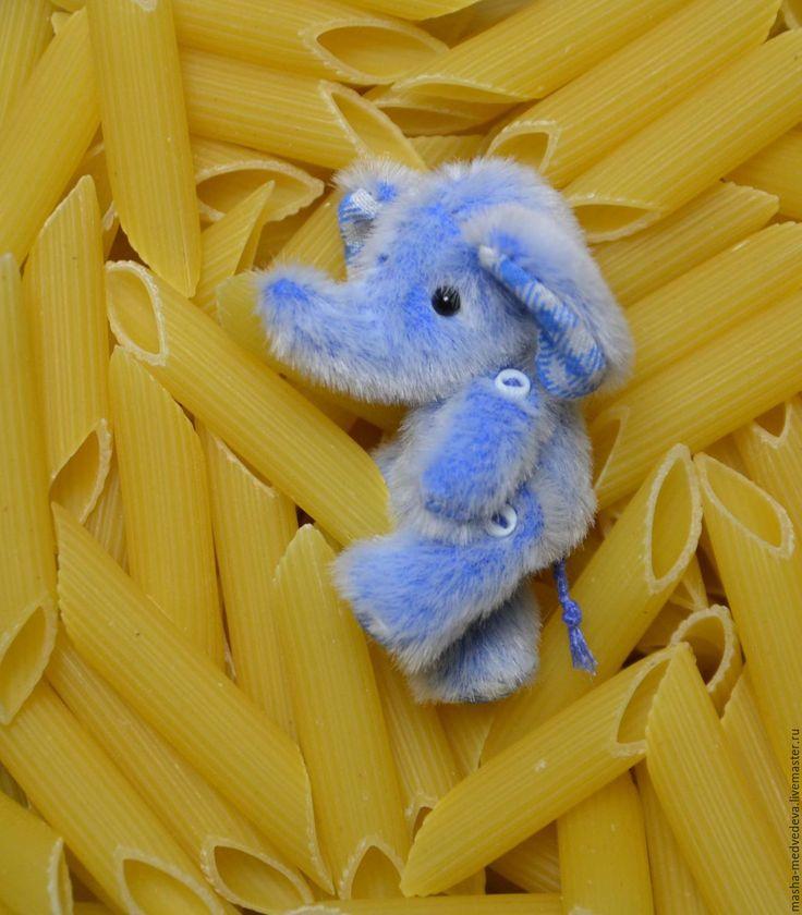 Купить Слоник Клёпа 5 см - голубой, клетка, ромбы, ромбики, тедди, тедди слон