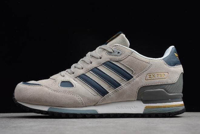 bca016310c881 adidas Originals ZX 750 Grey Blue-Metallic Gold Men s Running Shoes Q35066