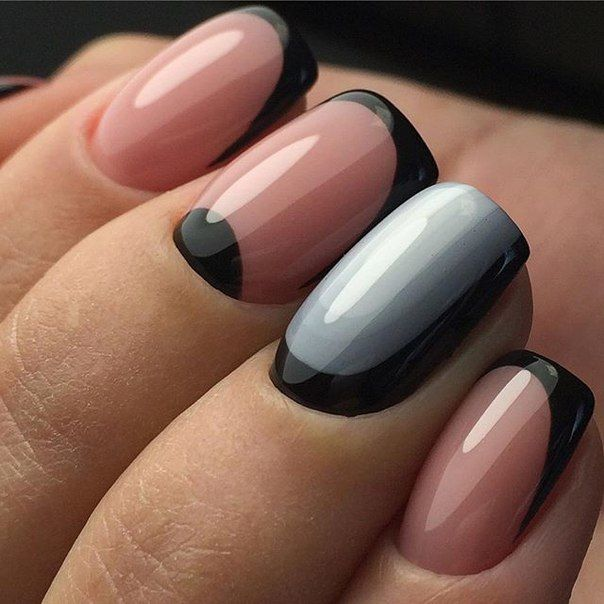 pastel black muted color block nail art