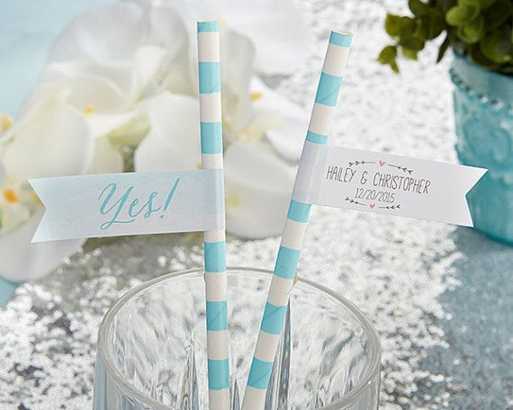 Personalized Party Straw Flags (Set of 25) – He Asked, She Said Yes- Personalized Favors, Bridal Shower Favors, Wedding Favors