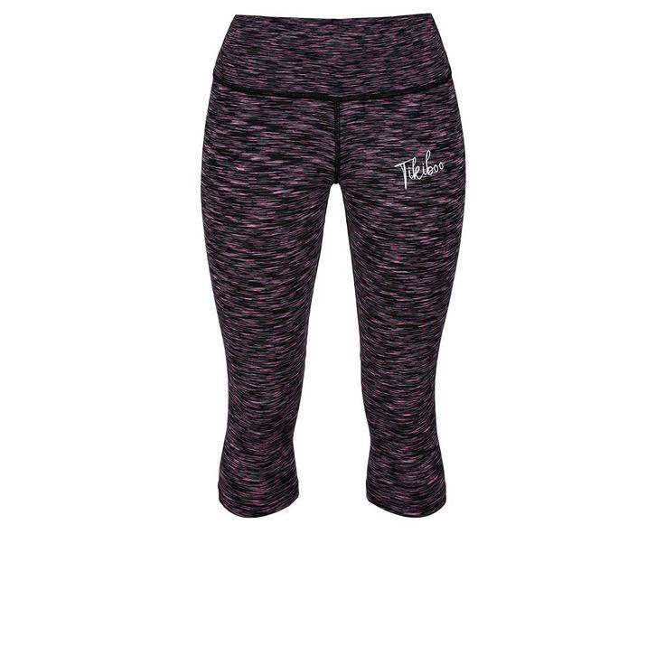 Black & Pink Signature Capri #Activewear #Gymwear #FitnessLeggings #Leggings #Tikiboo #Running #Yoga