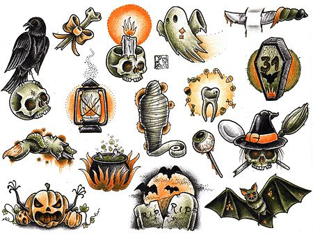 365 Days of Halloween -- I think the Jack-o-lantern with the arms, the grave stones with the moon and the skull with the candle would all make good face paintings.