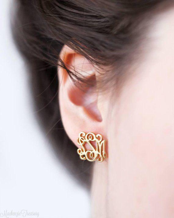 Monogram Earrings Stud Personalized Etsy