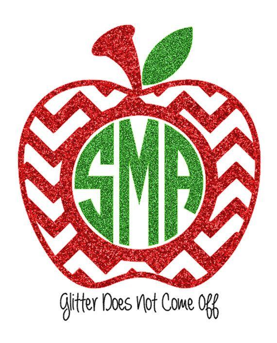 DIY Glitter Iron On Chevron Apple Monogram by VinylDezignz on Etsy, $7.95
