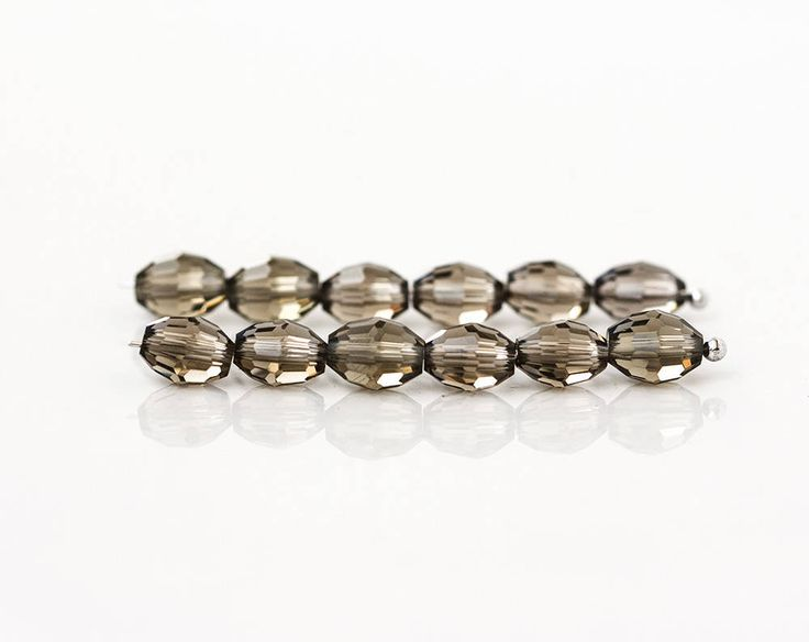 2563_Gray transparent beads 8x6 mm, Oval beads, Glass beads, Сrystal beads, Grey crystals, Faceted jewelry beads, Rice glass beads_50 pcs. by PurrrMurrr on Etsy