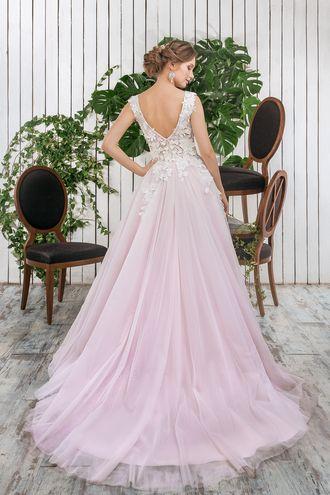 Свадебное платье, лиловое платье, А силуэт, 3d кружево