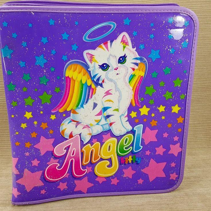Lisa Frank Angel Kitty 3 Ring Binder w/ Folder Zipper Trapper Book Glitter Stars
