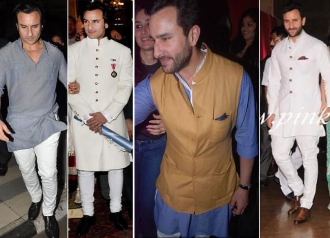 Saif Ali Khans Nawabi wardrobe-white kurtas, pyjamas, Indian menswear
