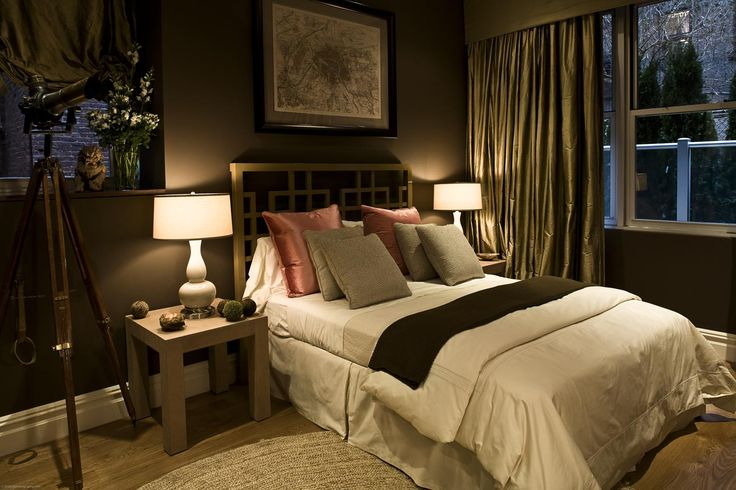 Bedroom, Beautiful Cozy Dark Brown Colored Modern Bedroom Design Ideas With Lovely Comfortable Bed Set With Unique Headboard, Minimalist Lig...